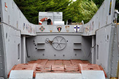 American World War Two military landing craft. Landing Craft, Vehicle, Personnel  LCVP   at the Le Grand Bunker museum, Ouistreham, department Basse-Normandie Royalty Free Stock Image