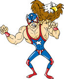 American Wrestler. Posing with bald eagle royalty free illustration