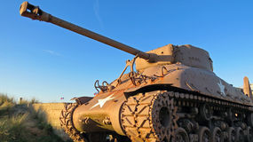 American WW2 M4 Sherman tank during sunset Stock Photography