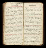 American WWI Soldier Diary Pages. Diary entries of a WWI American soldier while in France, c. 1918 Stock Images
