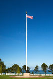 American WWII Cemetery and Flag at Omaha Beach Royalty Free Stock Photos