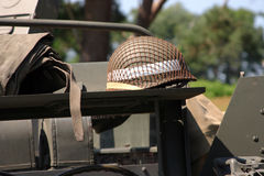 American WWII military detail. Including GI helmet Royalty Free Stock Images
