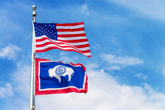 American and Wyoming State Flag Royalty Free Stock Image