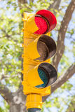 American yellow traffic lights with blur softness central park i Royalty Free Stock Image