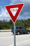 American yield road sign. On NASA causeway, Florida royalty free stock images
