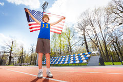 American young athlete on the track in summer Stock Photography
