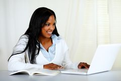 American young black woman working on laptop Stock Photography