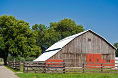 wooden country barn with fence in Michigan Royalty Free Stock Photography