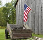 Americana. American Flag, Rural Landscape, Old Barn, Fourth Of July Royalty Free Stock Image