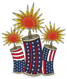 Americana Firecrackers. Vector art in Illustrator 8. Three Red, white and blue firecrackers explode for Independence Day. Firecrackers are SEPARATE images and Stock Photo