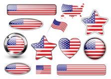 americanen buttons samlingsflaggan stora norr USA Royaltyfri Bild