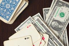 americanen cards pengarpokertappning arkivbild