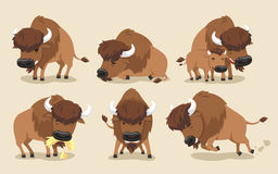 Americano Bison Buffalo Set Illustrazione Vettoriale