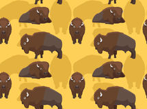 Americano Bison Cartoon Seamless Wallpaper Royalty Illustrazione gratis