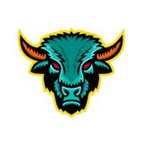 Americano Bison Head Sports Mascot Illustrazione Vettoriale