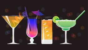 Americano cocktail, Galaxy Magic Moscow Mule Vodka Cocktail , Orange juice and classic Margarita coctails royalty free illustration