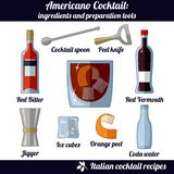 Americano cocktail. Infographic set of isolated elements on white background stock illustration
