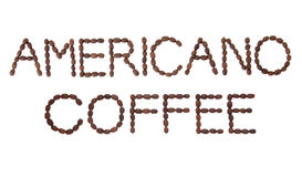 Americano Coffee. Sign in bean letter and word layout over white background Stock Photos
