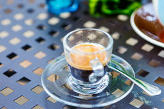 Americano coffee cup on table in cafe Royalty Free Stock Photo