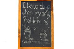 Americano coffee or espresso. Drawn on the board of American coffee and espresso with words Royalty Free Stock Images