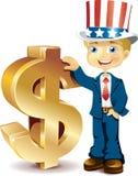 Americano com sinais de dólar Imagem de Stock