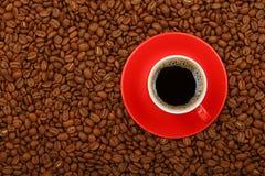 Americano dans la tasse rouge avec la soucoupe sur des grains de café Images stock