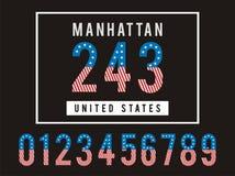 Americano determinado de la bandera de la textura del número de Manhattan Foto de archivo libre de regalías