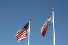 Americano e bandeiras de Texas Imagem de Stock