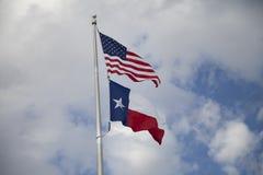 Americano e bandierine del Texas Immagini Stock
