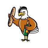 Americano Eagle Beret Baguette Wine Cartoon stock de ilustración