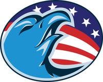 Americano Eagle Head Flag Retro calvo Foto de archivo libre de regalías