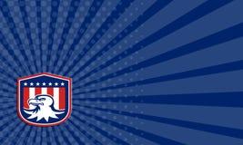 Americano Eagle Head Flag Shield Retro calvo de la tarjeta de visita Imagen de archivo libre de regalías