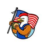 Americano Eagle Holding Burger e mascotte della bandiera di U.S.A. illustrazione vettoriale
