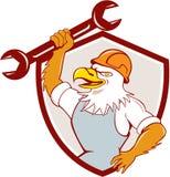 Americano Eagle Mechanic Spanner Shield Cartoon calvo Fotografía de archivo libre de regalías
