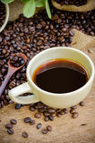 Americano i pieczeni kawowe fasole Zdjęcie Stock