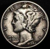 Americano Mercury Silver Dime Coin foto de archivo