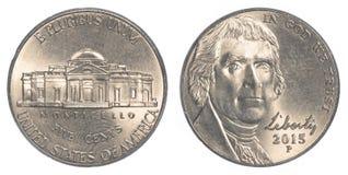 Americano moeda Jefferson Nickel de cinco centavos Fotos de Stock