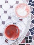 Americano och cappuccino royaltyfri fotografi