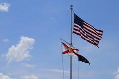 Americano, PRIGIONIERO DI GUERRA e bandiera di Florida Fotografie Stock Libere da Diritti