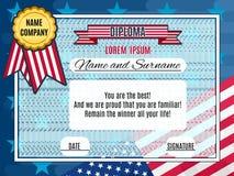 Americano sveglio con la bandiera viva di vettore del vincitore nei precedenti royalty illustrazione gratis