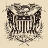 Americano tirado mão Eagle Linework ilustração stock
