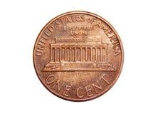 Americano una moneda del centavo aislada en el fondo blanco Imagen de archivo