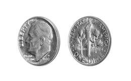 Americano una moneta della moneta da dieci centesimi di dollaro 10 centesimi isolati su fondo bianco Fotografie Stock Libere da Diritti