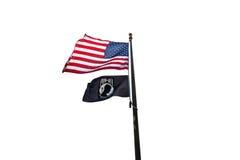 Americano y bandera del PRISIONERO DE GUERRA Imágenes de archivo libres de regalías