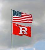Americano y banderas de Rutgers Imágenes de archivo libres de regalías