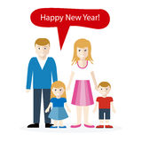 Americans or English Congratulation Happy New Year. Celebration national, greeting and cheerful, traditional language and family wish speech bubble Stock Image