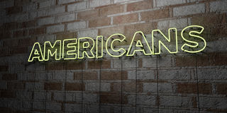 AMERICANS - Glowing Neon Sign on stonework wall - 3D rendered royalty free stock illustration. Can be used for online banner ads and direct mailers Royalty Free Stock Photos