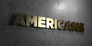 Americans - Gold sign mounted on glossy marble wall  - 3D rendered royalty free stock illustration. This image can be used for an online website banner ad or a Royalty Free Stock Photo