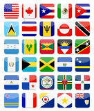 The Americas and the Caribbean Flags Flat Square Icon Set 1 Royalty Free Stock Photo