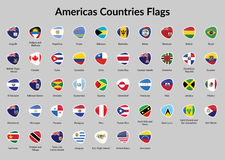 Americas countries flags. All Americas Countries Flags. Flags icon or America Countries. Americas Countries Flag Badges Royalty Free Stock Photos
